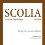 """Page de couverture de """"Scolia"""""""